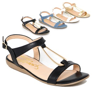 Period Sandal Gold Hoop Strap Wedged Sandal