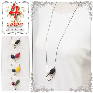 S/S Fashion Accessory Larger Geometric Design Motif Accessory Necklace Pendant Long