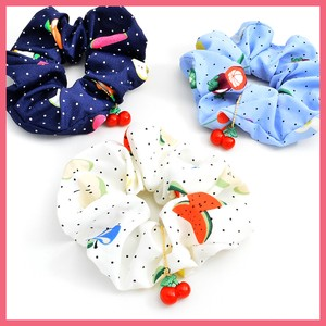 Cherries Charm Attached Fruit Dot Scrunchy
