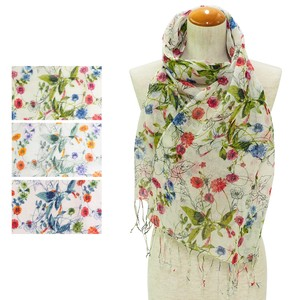 Stole Botanical Flower Linen Cotton Stole