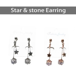 Star Stone Long Earring Pierced Earring