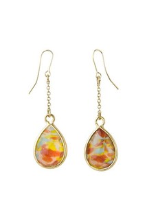 Marble Glass Beads Pierced Earring