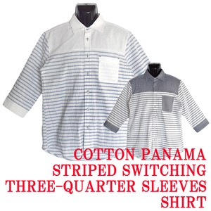 Cotton Panama Border Switching Cropped Way Shirt