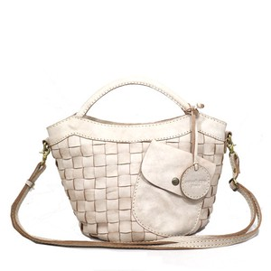 Leather White Mesh Handbag