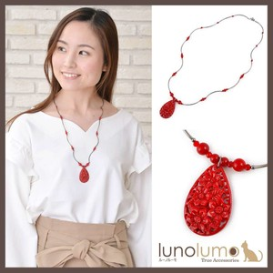 CLASSICAL RED Flower Pipe Metal Necklace