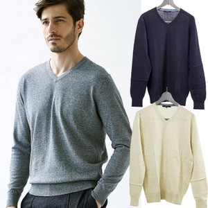 Cotton Linen V-neck Sweater