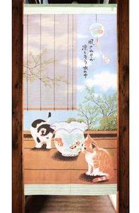 Japanese Noren Curtain cat Border Long