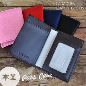 Leather Two Commuter Pass Holder Cow Leather Genuine Leather Card Holder