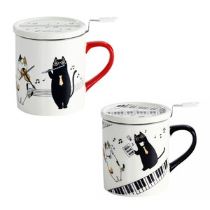 Porcelain 1Pc Music Cat With Lid Mug 2 type