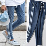 S/S Unisex Cut Denim Line Pants Sweat Sweat Skinny