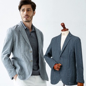 Limit Selling Italy Fabric Linen Mall Stripe Shirt Jacket