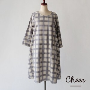 Cotton Checkered One-piece Dress