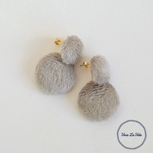 A/W Pierced Earring Short Fur Double
