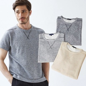 Melange Sweatshirt Short Sleeve Cut And Sewn Shirt