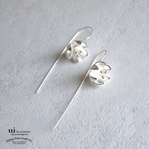 Pierced Earring Flower Drop Flower Silver Accessory