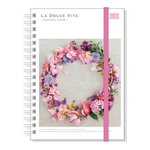 Photo Series Attached Hard Cover Ring Notebook Flower Wreath
