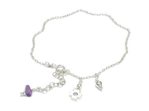 Silver 925 Italy Silver Anklet Amethyst Closs Charm
