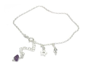 Silver 925 Italy Silver Anklet Amethyst Star Charm
