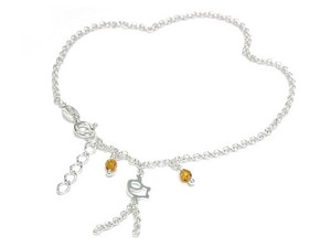 Silver 925 Italy Silver Anklet KeyCharm Orange