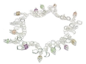 Silver 925 Italy Silver Anklet Swarovski Flower Heart Charm Multi-Color