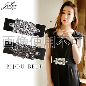 Clear Bijou Buckle Attached Elastic Belt