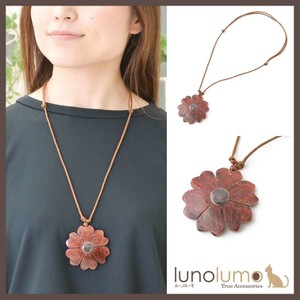 Red Flower Wood Pendant Necklace
