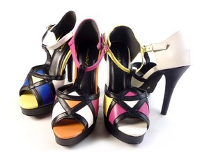 Cenesthesia Multi-Color Open Toe Pumps