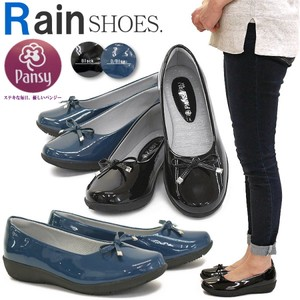 Rain Pumps Pansy Shoe Ladies Enamel Ribbon Ballet Shoes