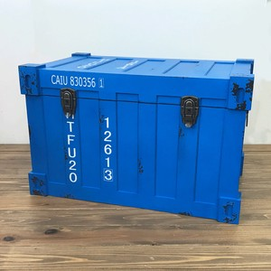 Container Trunk Case Blue Industrial Antique Storage Furniture