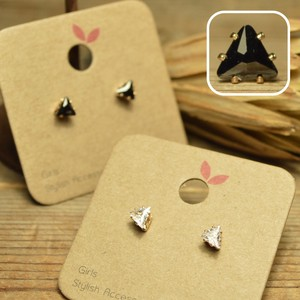 Triangle Stand Up Crystal Pierced Earring 2 Colors Clear Black