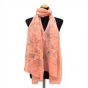 2018 S/S Stole Polyester Material Large Format S/S Stole Owl Salmon Pink