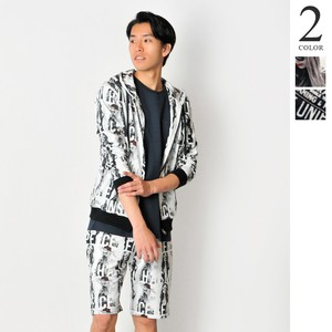 For Summer Photo Collage Repeating Pattern Suit Set Men's Hoody Shor Pants Suit Set