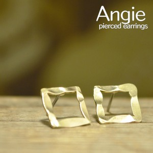 Brass Square Gold Pierced Earring