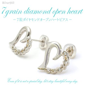 Silver 925 Diamond Open Heart Pierced Earring