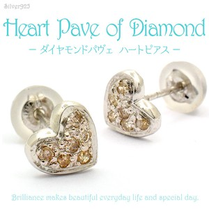 Silver 925 Diamond Pave Heart Pierced Earring
