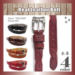 Genuine Leather Leather Belt Watermark Narrow Processing Design Buckle Unisex Adjustment