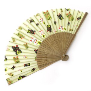 Fashion Accessory Japanese Style Silk Folding Fan Beckoning cat