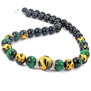Ryujin Green Tiger's Eye Design Necklace Good Luck