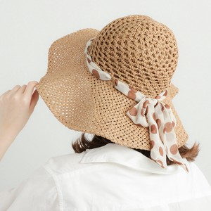 Dot Chiffon Ribbon Hand Knitting Hat