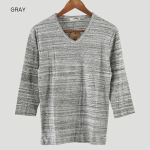 Milling V-neck Three-Quarter Length T-shirt