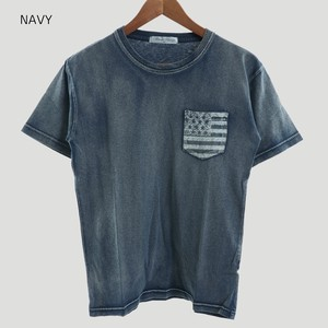 Indigo Pocket Stars And Stripes Print T-shirt