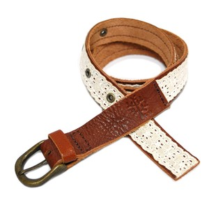Natural Leather Flannel Lace Belt
