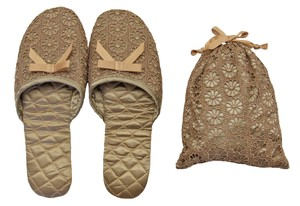 Portable Slipper Flower Lace Beige