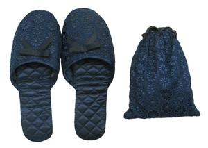 Portable Slipper Flower Lace Navy