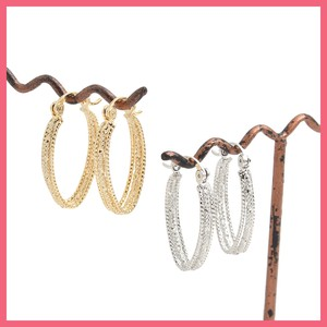 Triple Notch Oval Hoop Pierced Earring