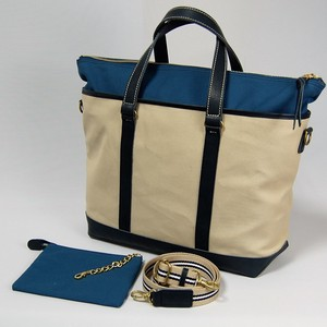 Canvas 3WAY Tote Ivory Navy Blue