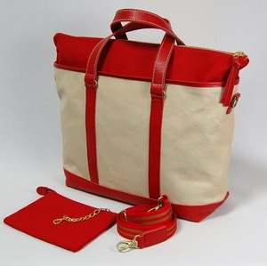 Canvas 3WAY Tote Ivory Red Red