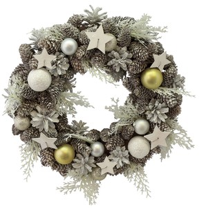 【2018クリスマス】リース/White Ball Fern Star Wreath L