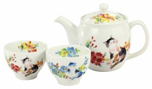 Porcelain Gift Flower Cat Pot Tea Utensils