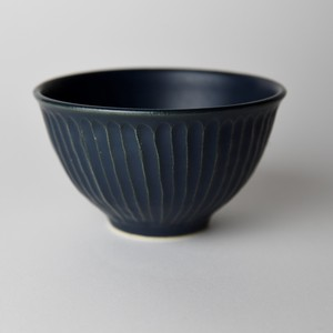 Mashiko Ware Rice Bowl Blue Mat